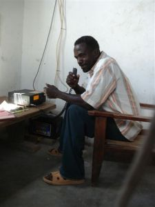Makat Primary School headmaster, Materu Oberlin on the radio to FMS